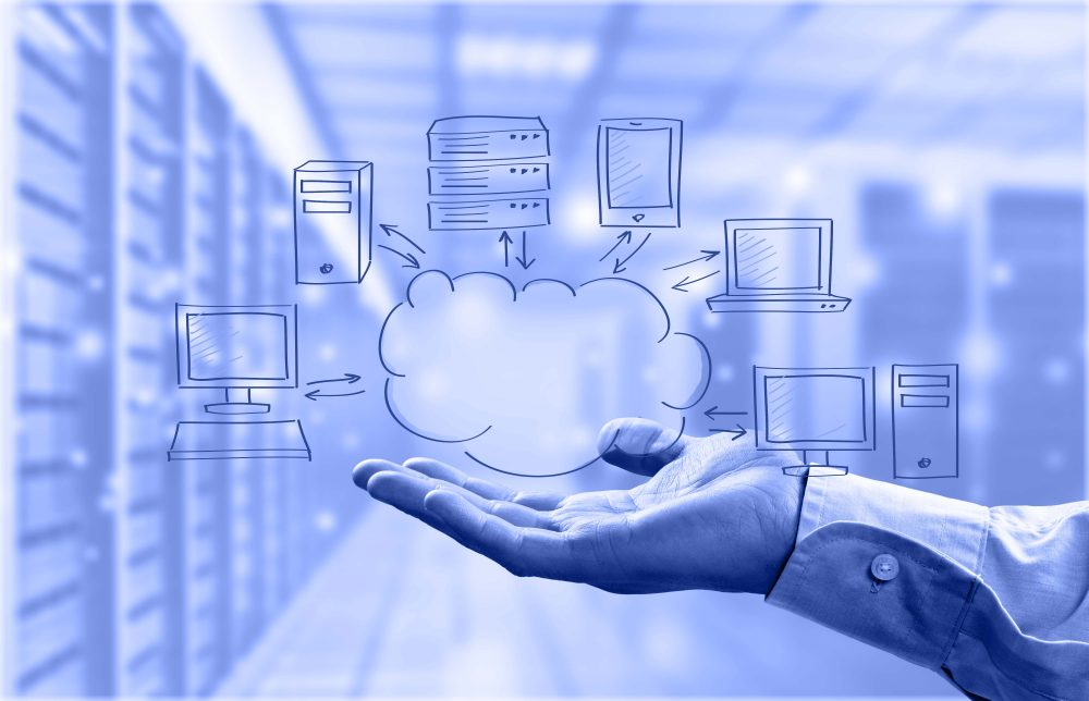 Cloud clouding business app sketch laptop network